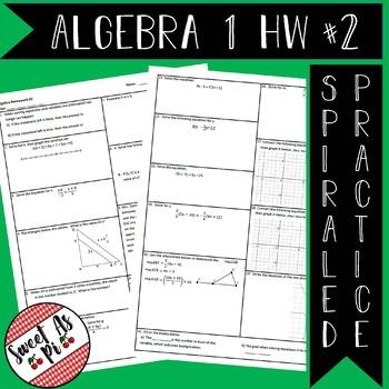 Algebra 1 Spiraled Homework #2 (editable)
