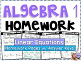 Algebra 1 - Homework / Practice Problems - Linear Equations
