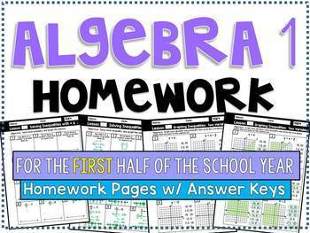 Algebra 1 - Homework /Practice Problems Bundle - First Half of the School Year