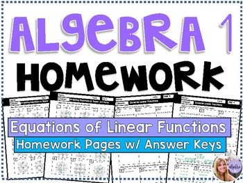 Algebra 1 - Homework / Practice / Review Problems- Equations of Linear Functions