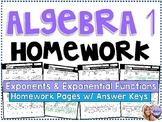 Algebra 1 - Homework /Practice/Review Problems - Exponents Exponential Functions