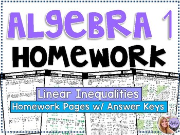 Algebra 1 - Homework / Practice / Review Problems - Linear Inequalities