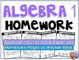 Algebra 1 - Homework /Practice/Review Problems - Quadratic Functions & Equations