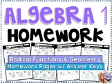 Algebra 1 - Homework /Practice/Review Problems - Radical Functions & Geometry