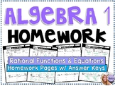 Algebra 1 - Homework /Practice/Review Problems - Rational Functions & Equations