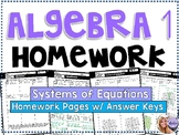 Algebra 1 - Homework / Practice / Review Problems - Systems of Equations