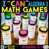 Algebra 1 I CAN Math Games BUNDLE | Test Prep Review