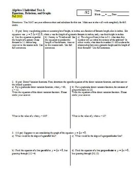 Algebra 1 Individual Test Equations Relations and Graphs F
