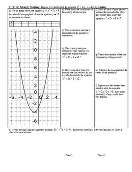 Algebra 1 Individual Test: Quadratics and Polynomials Spring 2013; 2 versions