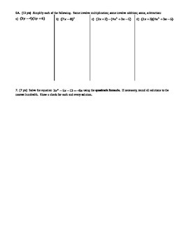 Algebra 1 Individual Test Transformations and Radicals Spring 2014; 2 versions