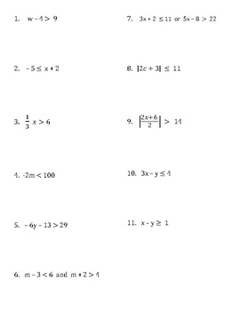 Algebra 1 Inequalities Review game/ Scavenger Hunt