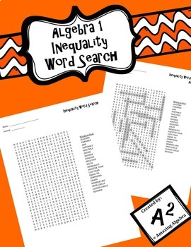 Algebra 1 - Inequalities Word Search