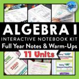 Algebra 1 Interactive Notebook Kit Notes & Warm-Up BUNDLE