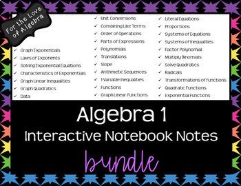 Algebra 1  Interactive Notebook Notes - BUNDLE!!