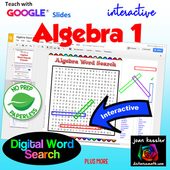 Algebra 1 Vocabulary Interactive Word Search Puzzle with GOOGLE slides