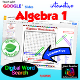 Algebra 1 Vocabulary Interactive Word Search Puzzle with G