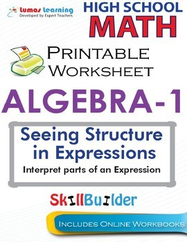 Algebra 1 Interpret parts of an Expression Printable Worksheets