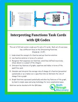 Interpreting Functions Task Cards with QR Codes - Algebra 1