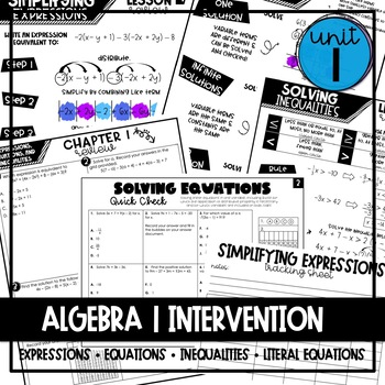 Algebra 1 Intervention Unit 1 (Expressions, Equations, & Inequalities)