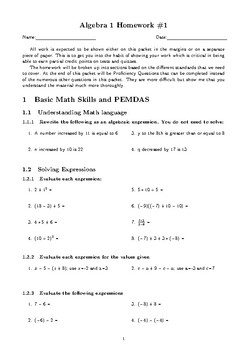 Algebra 1 Intro to Equations and Inequalities