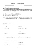 Algebra 1 Intro to Equations and Inequalities