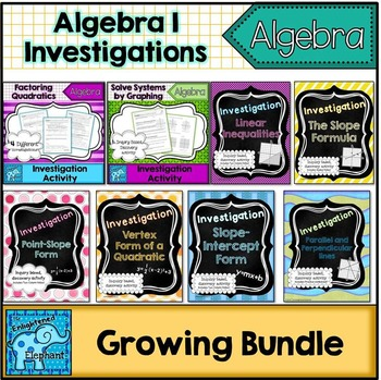Algebra 1 Investigation Activities Growing Bundle