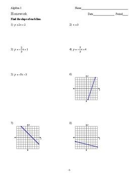 Algebra 1 - Linear Equations - Homework Pack