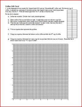 Algebra 1: Linear Graphs: Coffee Gift Card (Editable)