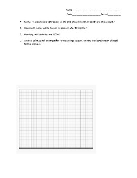 Algebra 1 - Linear Relationships Introduction #1 - Word Problem