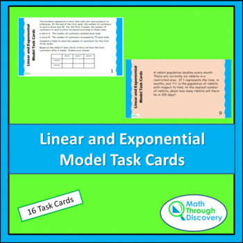 Algebra 1:  Linear and Exponential Model Task Cards