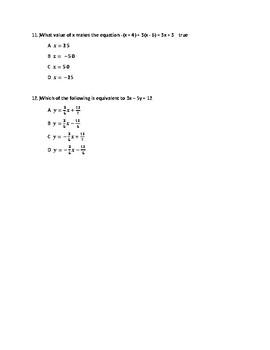 Algebra 1: Linear and Quadratic Equations and Expressions