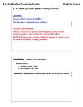 Literal Equations (Lesson Plan with Homework)