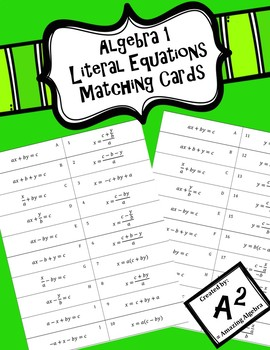 Algebra 1 - Literal Equations Matching Cards