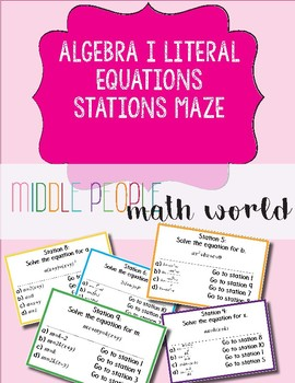 Algebra 1 Literal Equations Stations Maze