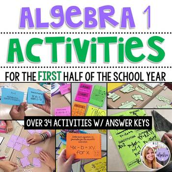 Algebra 1 - MEGA Bundle - Foldables, Activites, Anchor Charts, HW, Assessments