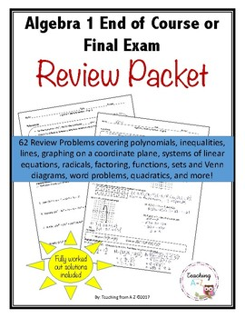 Algebra 1 Mastery Review Packet for EOC or Final Exam