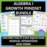 Algebra 1 Math Growth Mindset Activity Bundle (6 Quotes)