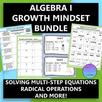 Algebra 1 Growth Mindset Activity Bundle (6 Quotes)