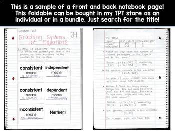 Algebra 1 Math Interactive Notebook - 70 Front & Back Pages