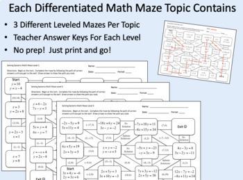 Algebra 1 Math Maze Bundle