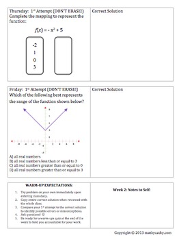 Algebra 1 Math Warm-Ups Galore! REVIEW & Encourage Error Analysis & Reflection