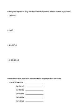 Algebra 1 Mid-Module 1 Test