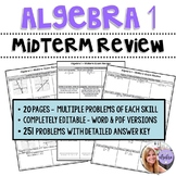 Algebra 1 - Midterm Benchmark Spiral Review Packet - 20 Full Pages w/ Answer Key