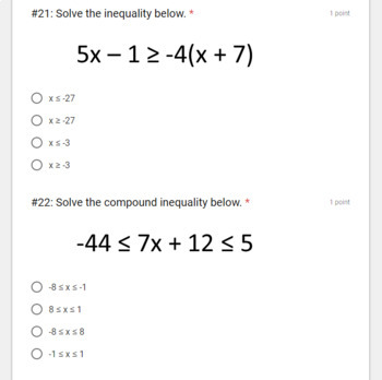 Algebra 1 Midterm Exam- for use with Google Forms