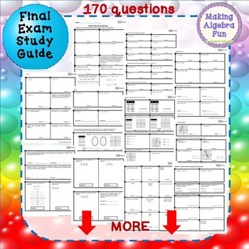 Editable Algebra 1 Midterm, Final Exam (3 versions) and study guides