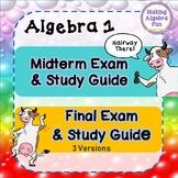 Editable Algebra 1 Midterm, Final Exam (3 versions) and st