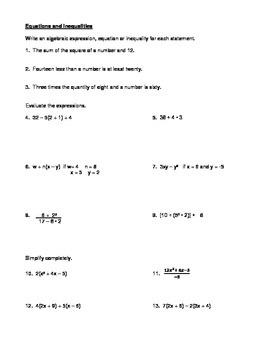 Algebra 1 Midterm Review