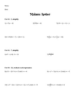 Algebra 1 Midterm Review with Answers