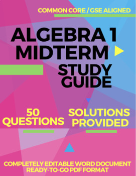 Algebra 1 Midterm Study Guide with Solutions