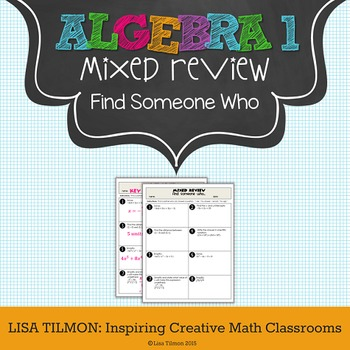 Algebra 1 Mixed Review Find Someone Who Activity